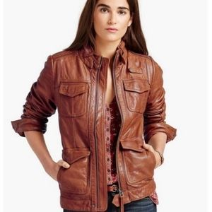 Lucky Brand Endless Leather Jacket - Cognac